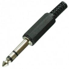 Штекер 6,3 мм стерео пластик на кабель
