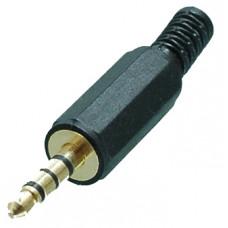 Штекер 3,5 мм 4С пластик GOLD на кабель