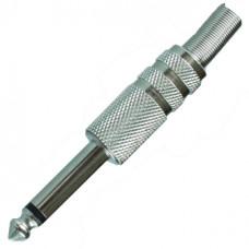 Штекер 6,3 мм моно металл на кабель