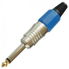Штекер 6,3 мм моно металл на кабель синий
