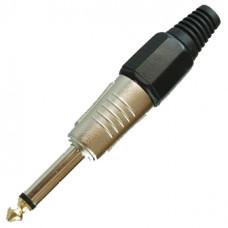 Штекер 6,3 мм моно металл на кабель черный