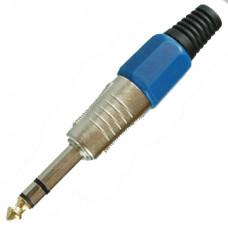 Штекер 6,3 мм стерео металл на кабель синий