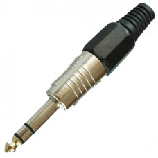 Штекер 6,3 мм стерео металл на кабель черный