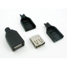 Гнездо USB (А) на кабель пластик разборный