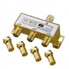 Антенный разветвитель на 3 TV 5-1000 MHz + 4 F разъема в коробочке GOLD