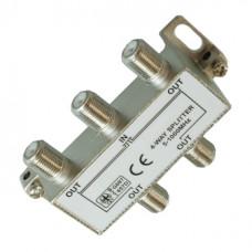 Антенный разветвитель на 4 TV 5-1000 MHz + 5 F разъема в коробочке