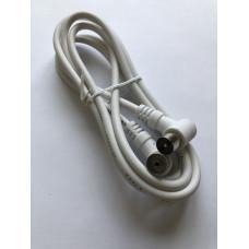 Кабель ВЧ  штекер ТВ угловой - гнездо ТВ угловой    1,5 м   3c2v   белый   BB
